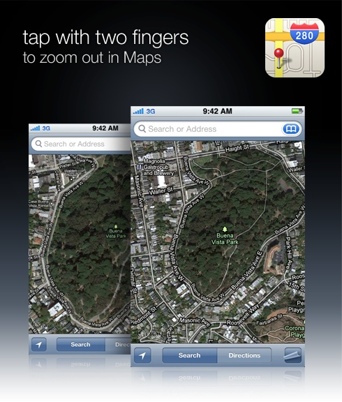 tap with two fingers to zoom out in Maps
