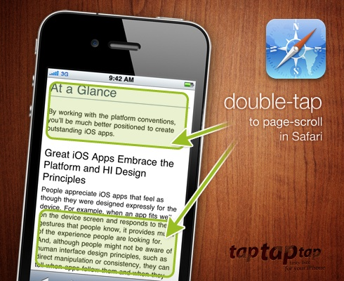 double-tap to page scroll in Safari