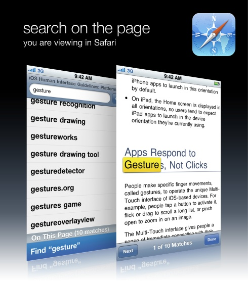 search on the page you are viewing in Safari
