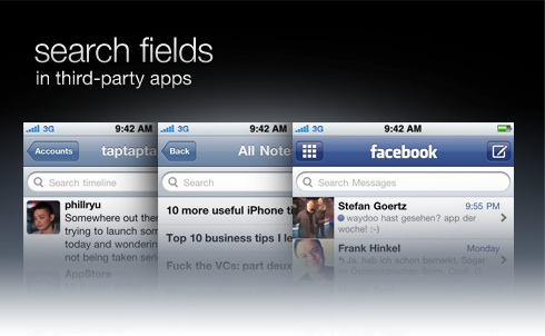 search fields in 3rd-party apps