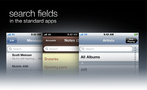 search fields in the standard apps