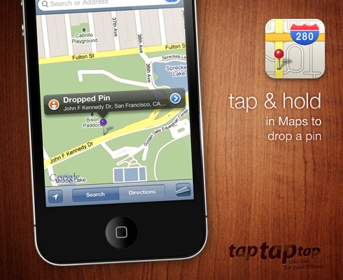 tap & hold in Maps to drop a pin