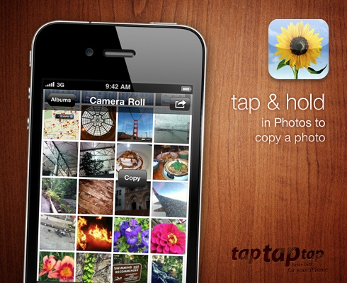 tap & hold in Photos to copy a photo