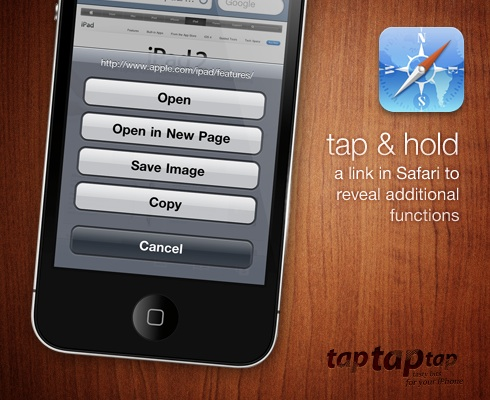 tap & hold a link in Safari to reveal additional functions
