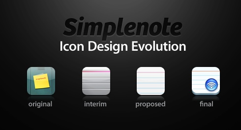 Simplenote icon design evolution